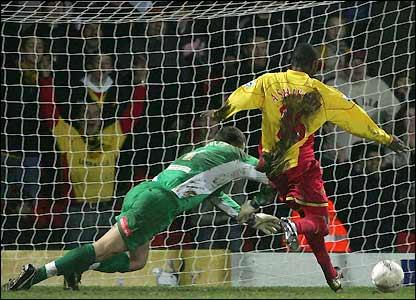 Debutant Moses Ashikodi scores the fourth goal