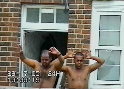 Muktar Ibrahim and Ramzi Mohammed surrender after being surrounded by police in north-west London.