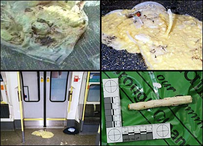 Police photographs of the remains of the bomb mixture bubbling on trains before its safe destruction. The final picture is one of the detonators.