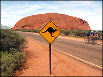 Kangaroo sign in front of Uluru, also known as Ayers rock (file photo)