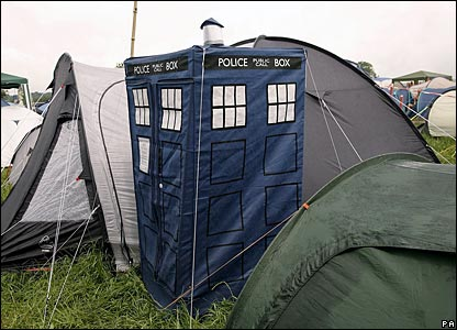 A Tardis tent on the Glastonbury Festival campsite