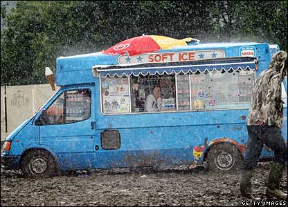 An ice cream van at Glastonbury