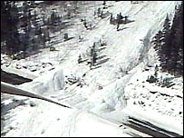 Avalanche over US highway 40 near Denver