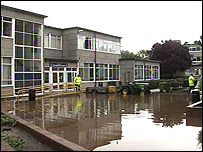Minster School in Southwell flooded