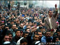 Shia Muslims at Friday prayers in Sadr City, Baghdad