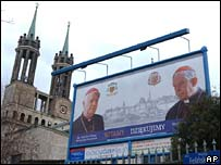 Poster of Archbishop Wielgus and Cardinal Glemp outside Warsaw cathedral