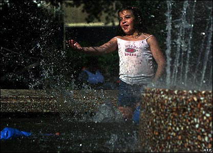 Girl in fountain in Sofia, Bulgaria