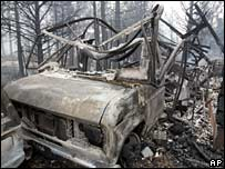 A burned out vehicle in Meyers, California