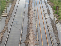 Flooded rail tracks