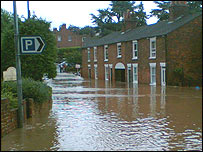 Flooded street in Louth