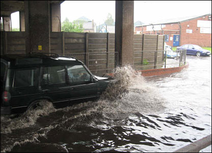 Floodwater in Stamp End, Lincoln. Copyright Alex Pipes