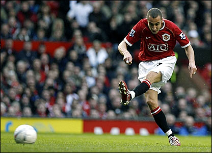 Henrik Larsson fires in a first-half shot on goal