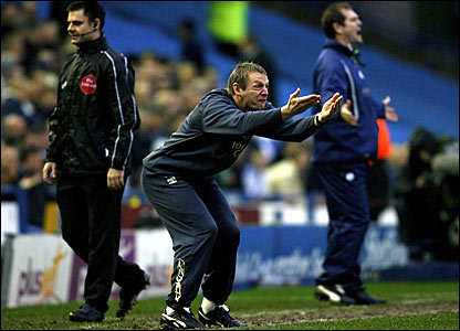 Manchester City manager Stuart Pearce shouts instructions