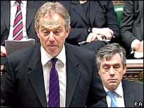 Tony Blair and Gordon Brown in Commons