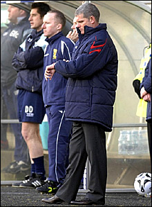 Temporary Rangers boss Ian Durrant checks his watch during the 3-2 defeat at Dunfermline