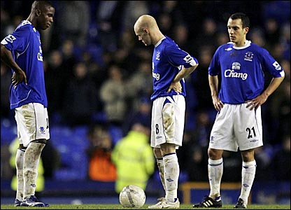 Victor Anichebe (left), Andy Johnson (centre) and Leon Osman prepare to kick-off after Blackburn's fourth goal