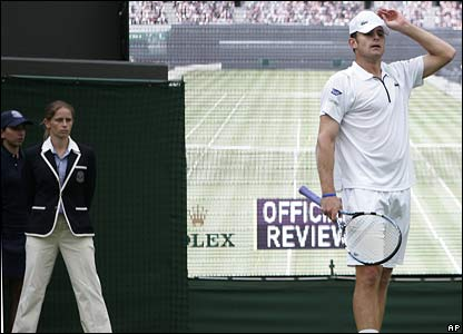 Andy Roddick awaits a Hawk-Eye decision