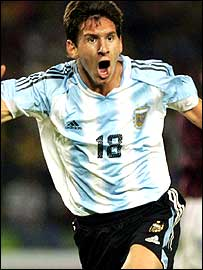 Argentina's Lionel Messi celebrates during the 2005 South American Under-20 Championship