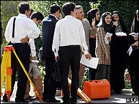 Engineering students at Tehran university