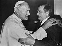 John Paul II and former Solidarity leader Lech Walesa