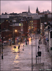 Flooding in the Wicker area of Sheffield