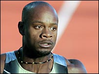 Asafa Powell pictured after winning in Oslo in June