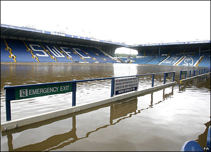 Sheffield Wednesday's Hillsborough football stadium, under water