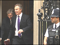 Tony Blair leaving Downing Street