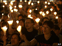 Candlelight vigil to mark the Tiananmen Square crackdown is held in Hong Kong on 4 June 2007