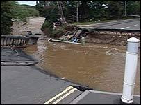 The collapsed bridge in Ludlow