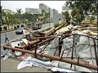 Billboard collapsed on a Karachi street