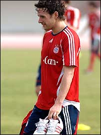 Owen Hargreaves at Bayern Munich's training camp in Dubai