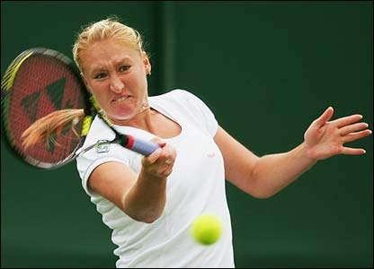 Britain's Elena Baltacha in action against Slovenia's Katarina Srebotnik