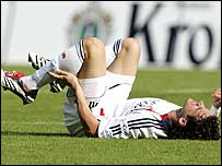 Owen Hargreaves breaks his leg playing for Bayern Munich in September