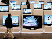 TVs on display at CES