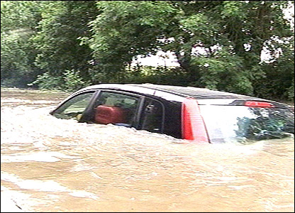 Car submerged in Derbyshire