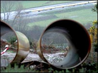 Pipe at LNG pipeline construction site at Trebanos, south Wales