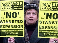 Woman protesting against planned Stansted expansion in 2004