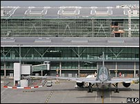 A plane docked outside the new Terminal 5 building at Heathrow