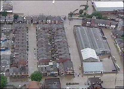 Aerial view of flooding in Worksop