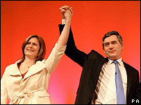 Sarah and Gordon Brown on the day he became Labour leader
