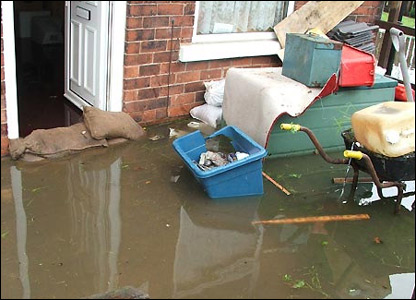 Houses in Pinxton, Derbyshire were hit hard by the heavy rains.