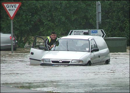 The roads in South Wingfield, Derbyshire were turned into rivers.