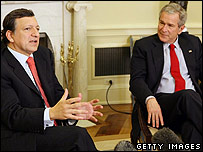 European Commission President Jose Manuel Barroso and US President George W Bush