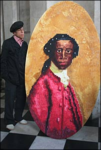 Artist Satch Hoyt with portrait of writer Olaudah Equiano. Images from City of London Festival