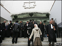 Lawyers and attendants outside the Algerian court in Blida