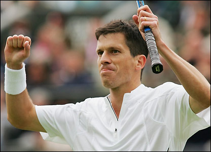Henman celebrates booking his place in the second round
