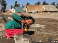 An Iraqi girl in a camp for displaced people outside Baghdad