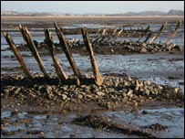 Hulks of boats at Aberlady. Picture courtesy of Scape