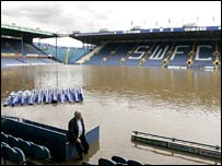 Sheffield Wednesday's Hillsborough ground is flooded
